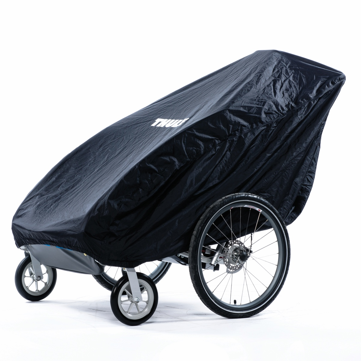 Durable fabric cover protects your Thule child carrier while not in use.